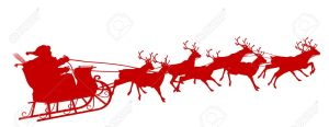 Santa Claus with Reindeer Sleigh Symbol - Red Silhouette